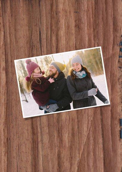 Weihnachtskarte Holzlook robust mit Foto und Sternen 2