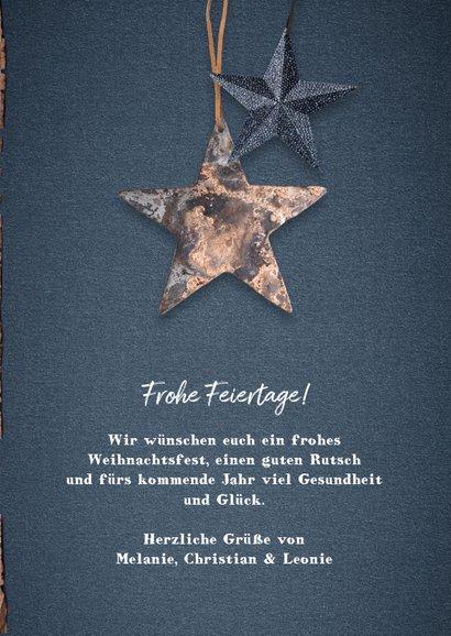 Weihnachtskarte Holzlook robust mit Foto und Sternen 3