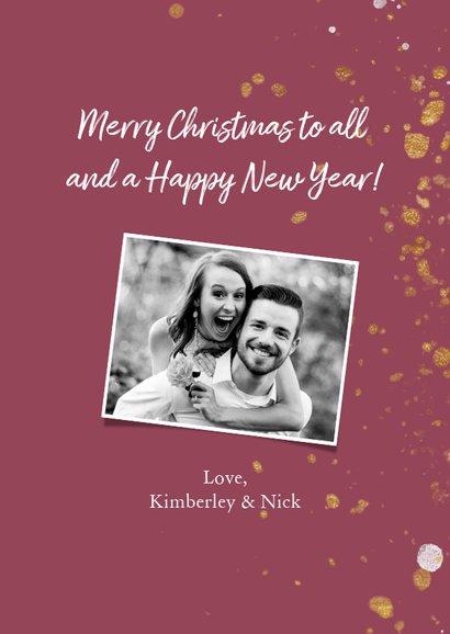 Weihnachtskarte in rot mit Foto und goldenem Konfetti 3