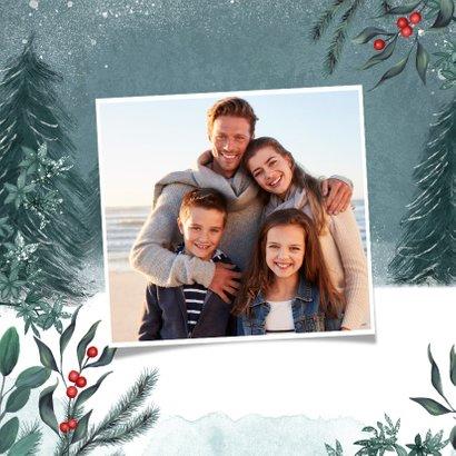Weihnachtskarte kleines Reh im Winterwald 2