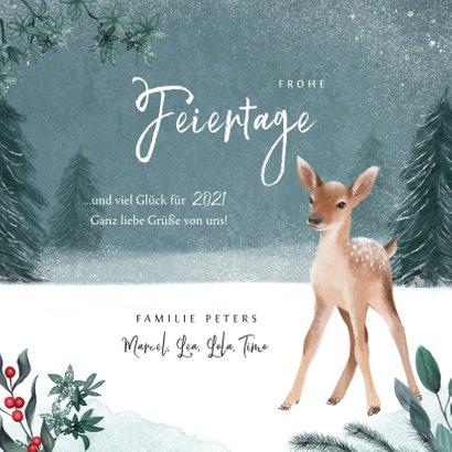 Weihnachtskarte kleines Reh im Winterwald 3