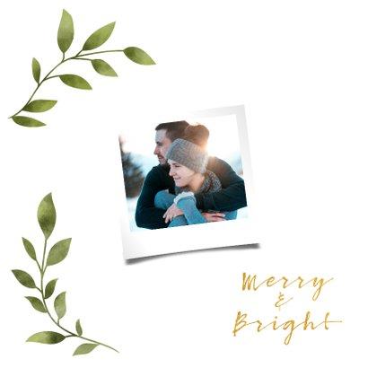 Weihnachtskarte 'merry&bright' mit Foto und grünen Blättern 2