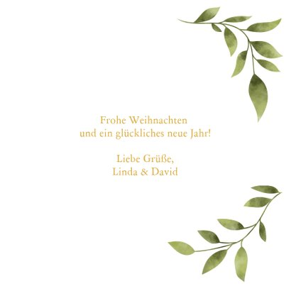 Weihnachtskarte 'merry&bright' mit Foto und grünen Blättern 3