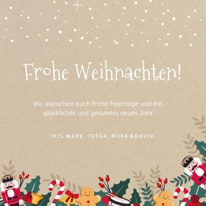 Weihnachtskarte mit 3 Fotos und lustigen Illustrationen 3