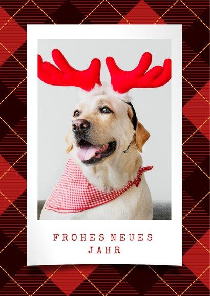 Weihnachtskarte mit Foto auf Schottenmuster 2