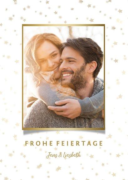 Weihnachtskarte mit Foto und goldenen Sternen  2