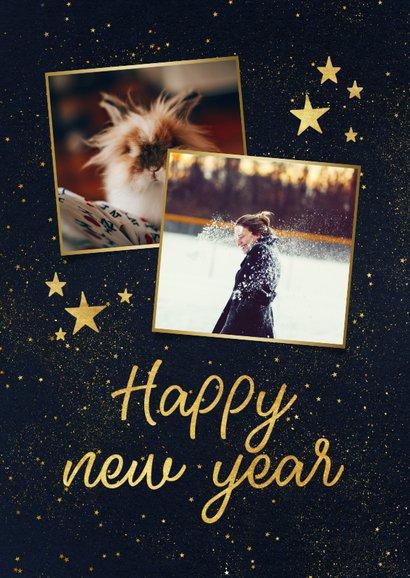 Weihnachtskarte mit Fotos und goldenen Sternen 2