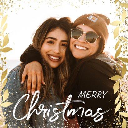 Weihnachtskarte mit Goldakzenten und großem Foto 2