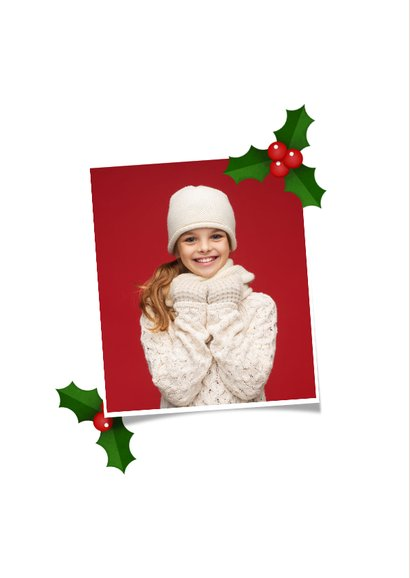 Weihnachtskarte mit großem Foto und Stechpalme als Rahmen 2
