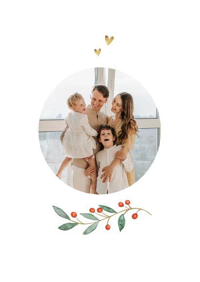 Weihnachtskarte mit ovalem Foto, Stechpalme und Herzen 2