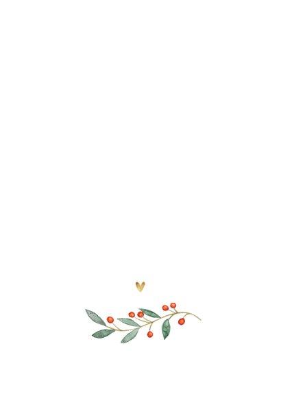 Weihnachtskarte mit ovalem Foto, Stechpalme und Herzen Rückseite