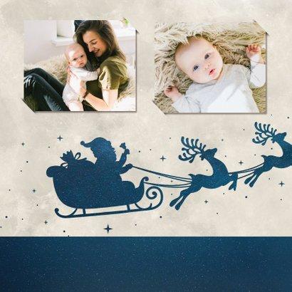 Weihnachtskarte mit Schlitten-Silhouette und Mond  2