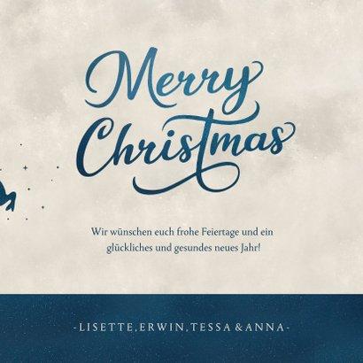 Weihnachtskarte mit Schlitten-Silhouette und Mond  3