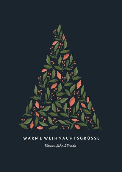 Weihnachtskarte mit Weihnachtsbaum in botanischem Look 3