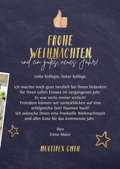 Weihnachtskarte Mitarbeiter Daumen hoch 3