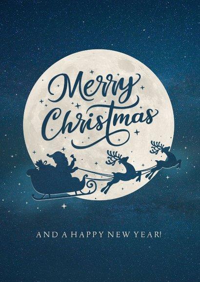 Weihnachtskarte Mond und Silhouette merry christmas 2