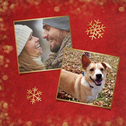 Weihnachtskarte rot mit Goldkonfetti und Fotos 2