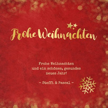 Weihnachtskarte rot mit Goldkonfetti und Fotos 3