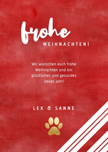 Weihnachtskarte rote & weiße Streifen, Foto und Stechpalme 3