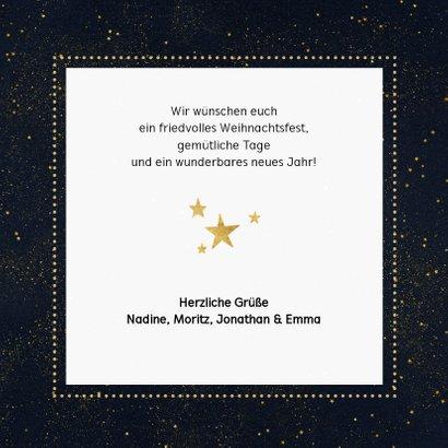 Weihnachtskarte schwarz vier Fotos und schwarze Goldkonfetti 3