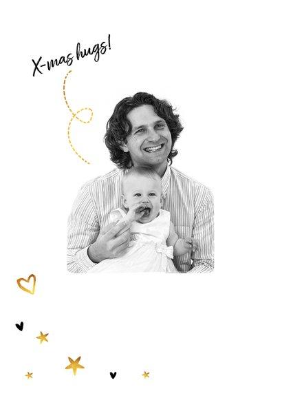 Weihnachtskarte schwarzweiß mit Foto und Sternchen 2