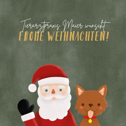 Weihnachtskarte Tierarztpraxis Weihnachtsmann & Hund 2