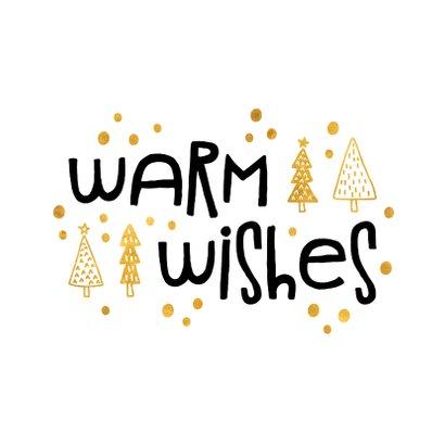 Weihnachtskarte 'Warm wishes' weiß und gold 2