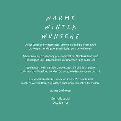 Weihnachtskarte Warme Winterwünsche 3
