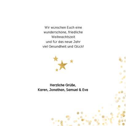Weihnachtskarte weiß vier Fotos und Goldkonfetti 3