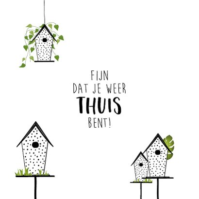 Welkom thuis kaart met kleine schattige huisjes 2