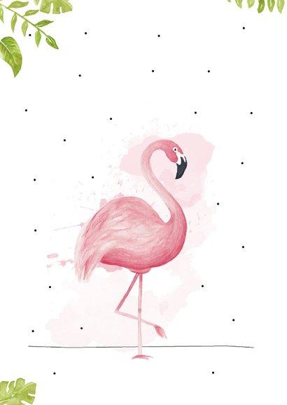 Welkom thuis kaart met tropische bladeren en roze flamingo 2