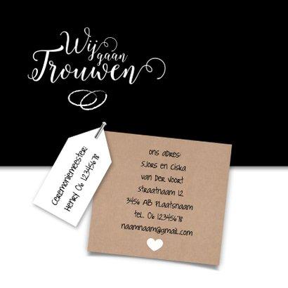 Wij gaan trouwen met kraftlabel trouwkaart 2