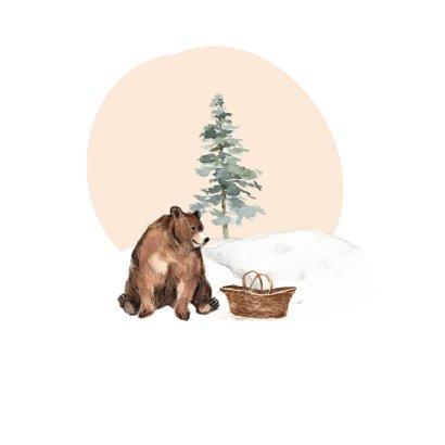 Winter geboortekaartje beer babymandje sneeuw 2