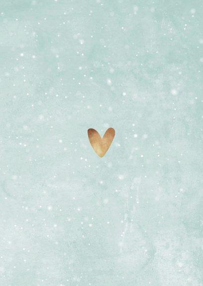 Winterliche Dankeskarte zur Taufe blaugrün mit Fotos Rückseite