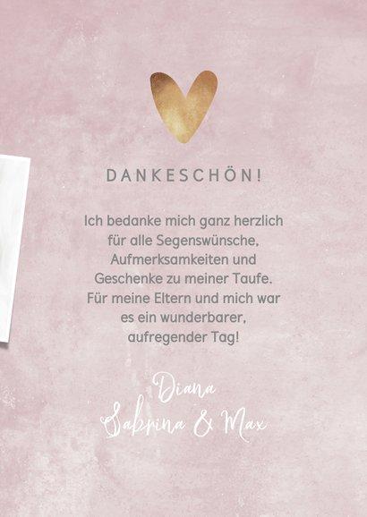 Winterliche Dankeskarte zur Taufe rosé mit Fotos 3