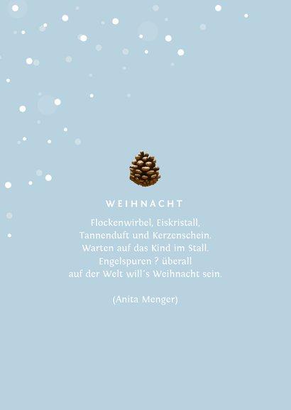 Winterliche Weihnachtskarte mit Tannenzapfen und Foto 2