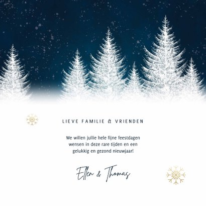 Winterse kerstkaart met bomen sneeuwvlokken fijne feestdagen 3