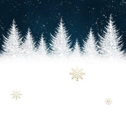 Winterse kerstkaart met bomen sneeuwvlokken fijne feestdagen Achterkant