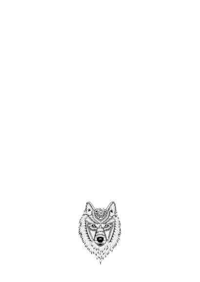 Wolf zwart/wit illustratie 2