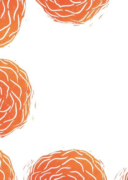 Woonkaart lino afdruk roos 2