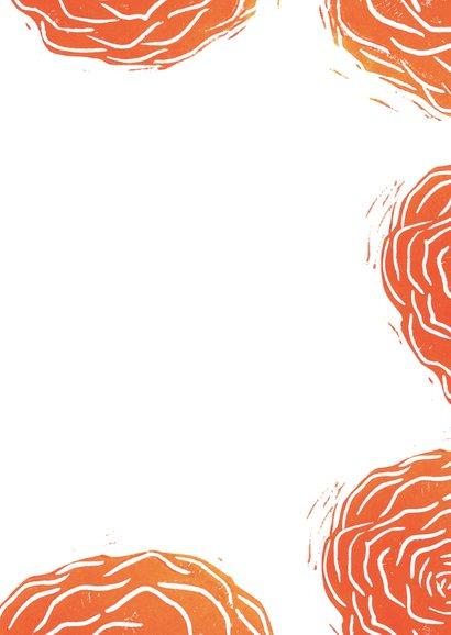 Woonkaart lino afdruk roos 3