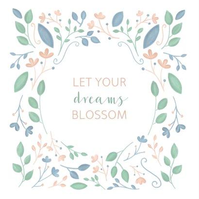 Woonkaart met geïllustreerde bloemen en quote 2