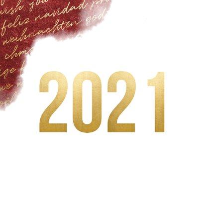 Zakelijke 2021 goud kerstkaart internationaal waterverf 2