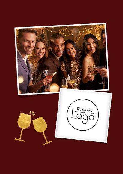 Zakelijke bedankkaart personeel met wijn kerst toost 2