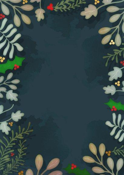 Zakelijke botanische kerstkaart - een gouden kerst Achterkant