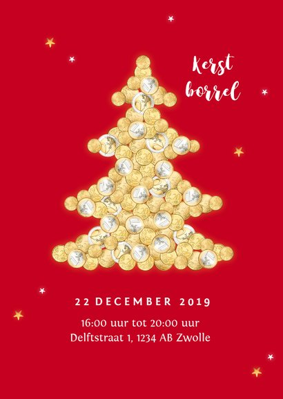 Zakelijke financiële kerstkaart geld kerstboom sterren 2