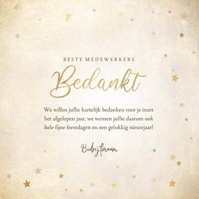 Zakelijke kerst bedankkaart met gouden sterren 'Bedankt' 3