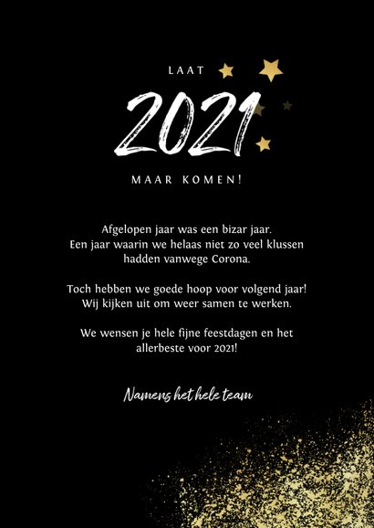 Zakelijke kerst- en nieuwjaarskaart 2021 goud spetters foto 3