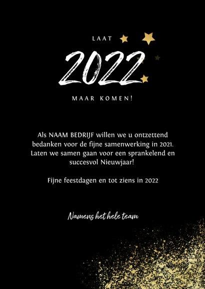 Zakelijke kerst- en nieuwjaarskaart 2022 goud spetters foto 3