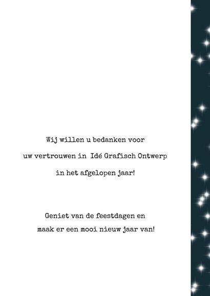 Zakelijke kerstkaart 2019, eenvoudig met tekst en sterretjes 3